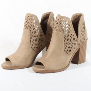 Soda Peep Toe V Cut Out Stacked Heels Booties NEW